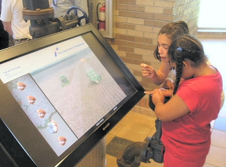 Close-up view of an interpretive touch-screen display