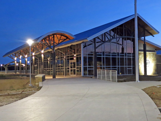 View toward the building entrance of the new Hopkins County Safety Rest Area