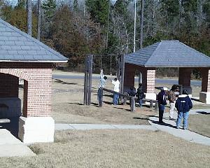 """View towards picnic arbors and """"exercise station"""""""