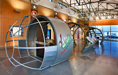 View of interior exhibit that shaped like an aircraft fuselage
