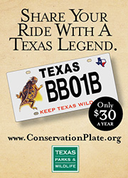 Share your ride with a Texas legend - ConservationPlate.org