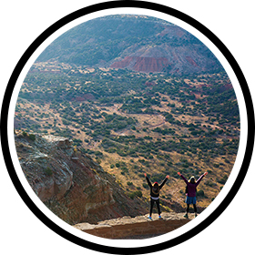 Visitors enjoy the view at Palo Duro Canyon.