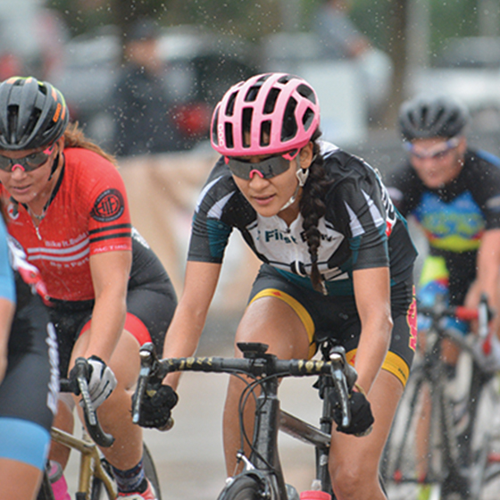 Cyclists riding in a race
