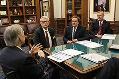 Gov. Greg Abbott is briefed on the congestion relief efforts by Transportation 