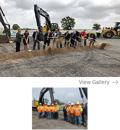Local and state dignitaries break ground on the East Loop 820 project in Northeast Tarrant County on Aug. 13, 2018.