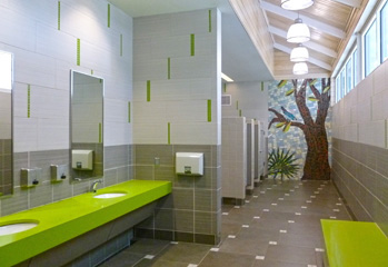 View of a tile mural in a restroom