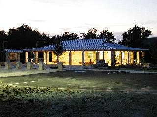 View of the facility at dusk